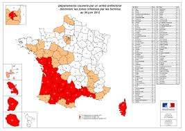 Carte d'infestation des termites en France